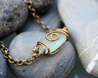 Blue Sea Glass Bronze Chain Bracelet