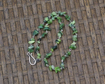 Green Jade Necklace ~ Men's Jewellery ~ Canadian Nephrite Jade ~ Irregular Stones ~ British Columbia Jade ~ Good Luck Stones ~ Unisex
