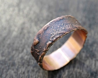 rustic bronze ring unique, cool mens ring, wood grain ring, unique men ring, modern bronze ring, steampunk ring, ring anniversary gift