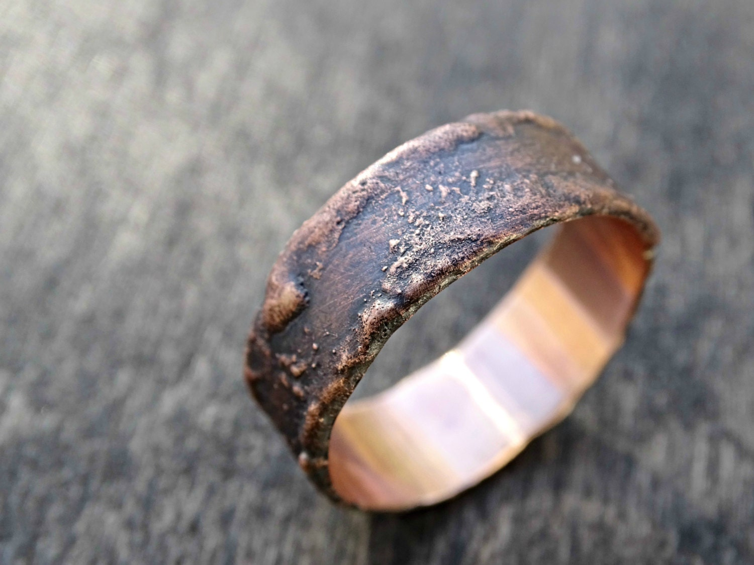 rustic bronze ring unique cool mens ring wood grain ring
