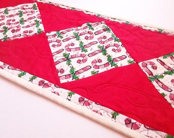Candy Canes, Christmas Table Runner, Candy Cane Decor, Quilted Runner