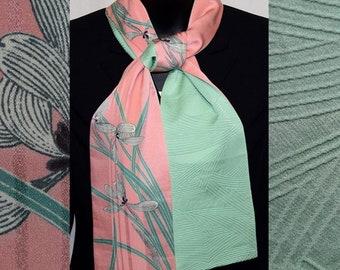 Silk Scarf Women's Wrap Vintage Japanese Kimono Fabric Irises