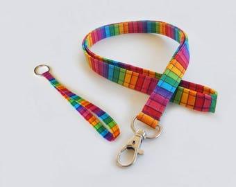 Rainbow Lanyard Set / Stripes / Keychain / Colorful Key Lanyard / Pretty Wrist Lanyards / ID Badge Holder / Rainbows / School Supplies