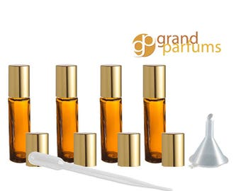 48 10ml Amber Glass Roll-on Bottles Roller Balls Essential Oil EO Bottle w/Gold Caps DoTerra Young Living Oils Wholesale Bulk - DIY Perfume