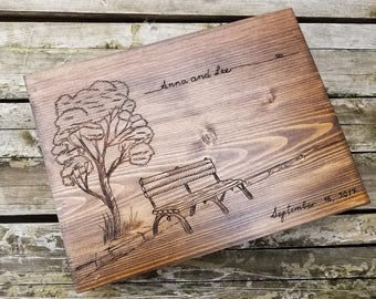 Personalized wine and card box for wedding - bench and tree custom engraved wood box for storing love letters, advice notes, 5th anniversary