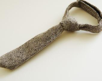 Dark brown tweed necktie for boy, brown baby necktie, wool necktie for baby boy, winter photo prop necktie - made to order