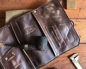 Leather Pipe Pouch * Handmade in USA * The Original Standard Pipe Pouch * Pipe Roll * Rusticated Brown * Sorringowl Etsy * Made in the USA *