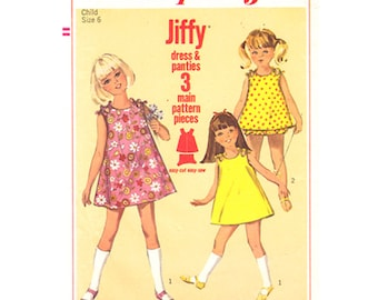 Girls Dress Pattern Simplicity 6990 Sleeveless Sundress Tied Shoulders & Panties Girls Size 6 Vintage Sewing Pattern