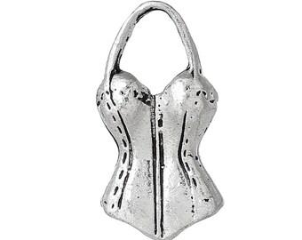 x 1 corset woman 26 mm antique silver charm pendant.