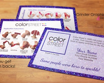 "Color Street Twosie Postcard 4""x6"" Personalized Purple Sparkles Digital Download, Marketing Material, Postcards"