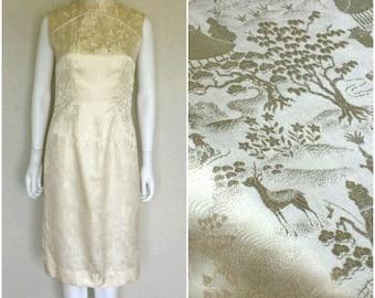 Vintage 40s 50s creme Chinese silk cheongsam dress  Sz medium