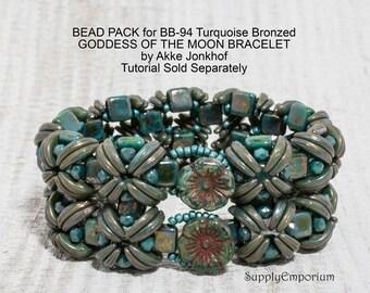 Turquoise Bronzed Goddess BEAD PACK BB94 for Goddess of The Moon Bracelet by Akkesieraden , Sold Separately BB-94