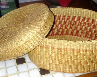 Vintage Small Woven Basket with Lid