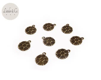 50 sequins charms 14x11mm bronze medallion metal round *-md4... *.