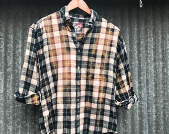 MEDIUM - Flannel Shirt - Bleached - Vintage Washed Flannel - Oversized Flannel - Distressed Flannel - Plaid Shirt - Fall Shirt - #8 BM