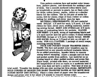 Instant Download Alice Brooks Boy & Girl Twin Dolls W Clothes Fabric sew Transfer pattern # 7344  PDF Delivery
