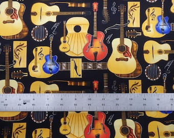 "Guitar Fabric, Guitars, ""Guitar Shop,"" by Dan Morris for Michael Miller Fabrics, Quilting Cotton, by the half yard - Music Fabric"