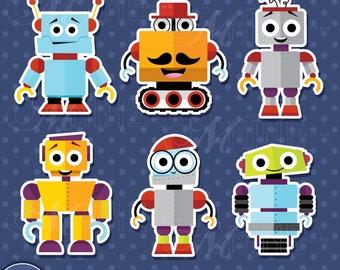 HAPPY ROBOT Sticker Clip Art / Happy ROBOTS Clipart Downloads / Robots Clipart, Vector Robots Sticker Clipart