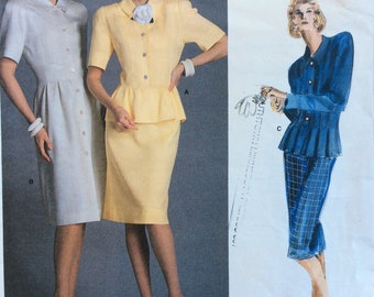 Vogue 1862 misses dress, top & skirt size 12 bust 34 vintage 1980's sewing pattern  American Designer Albert Nipon