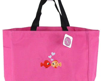 Kissing Fish & Heart Bubbles Monogram Bag Essential Custom Embroidered Tote