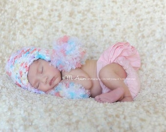 Precious Newborn pom pom hat with ear flaps super fluffy softness at its best