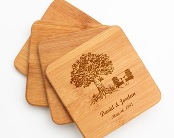 Personalized Coasters, Custom Engraved Bamboo Coaster, Oak Tree Initials, Personalized Coaster, Personalized Wedding Gifts, Housewarming D31