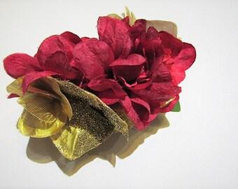 Red & gold hair claw, Linziclip, red flower fascinator, gold hydgrangea, bun holder, red floral hair clamp, valentine flower hair clip