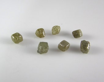 Yellow colored diamonds-Lot of 7 x 0.5 carat rough diamonds, uncut diamonds, raw diamonds, for jewelry, certified conflict free