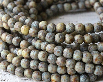 4mm Round Glass Beads For Jewelry Making - Czech Glass Beads - 4mm Druks - Supplies - Etched Earthy Stone Palate