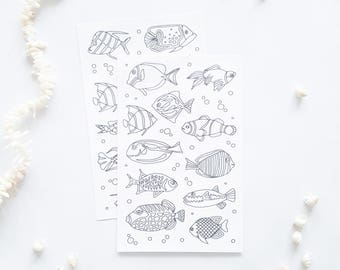 Fish Coloring Planner Stickers, Bullet Journal Stickers, Adult Coloring Stickers, Coloring Fish Stickers, Planner Fishing Stickers, Decals