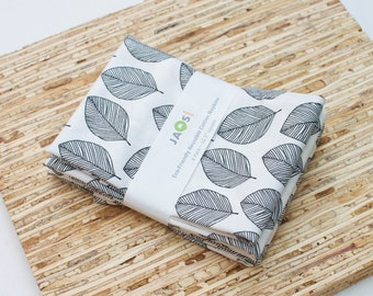 Large Cloth Napkins - Set of 4 - (N4674) - Whisper Leaves Black Modern Reusable Fabric Napkins