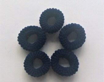 SALE!!!  5 small soft hair elastic ties dark blue baby children girl The Weavers Mill