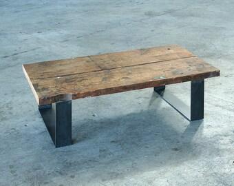 reclaimed wood coffee table with steel legs - modern industrial coffee table - urban salvage