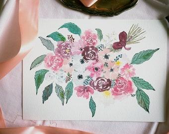 Floral bouquet, A4 print, Watercolor fine art print