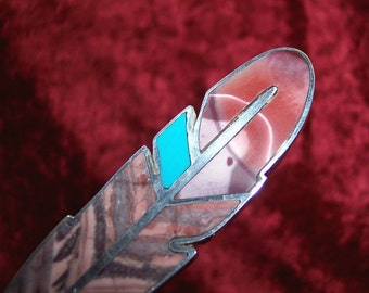 REVERSIBLE Stone Inlay Feather Centerpiece - Kona Dolomite, Moukaite, Turquoise, and Sterling Silver