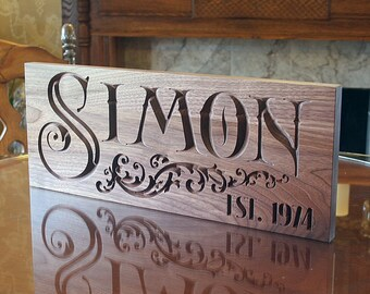 Personalized Last Name Wood Sign, Lake House Sign, Custom Wood Signs, Kitchen Sign, Benchmark Signs, Benchmark Custom Signs, Walnut SN