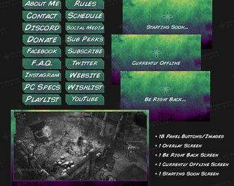 Shades - GreenPurple - Twitch Overlay Pack