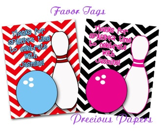 Digital bowling favor tags You print Bowling Birthday Party favor tags chevron bowling favor tags  Download within 24 hours