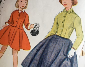 Vintage Simplicity Pattern 3809 / Girls Size 12 / 2-Piece Suit / Circle Skirt / 1950s