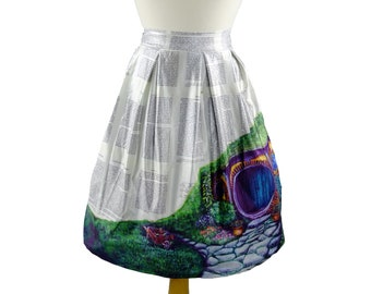 Hobbit Hole - Midi-Skirt featuring The Shire on Book Pages, Lord of the Rings, Hobbit