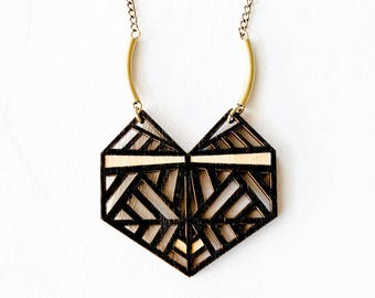 Wood Necklace - Milan Pendant Necklace - Wood Pendant - Rebelles des Bois Necklace