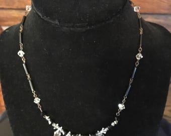 Vintage Jet and Crystal Necklace