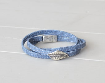 Blue Denim Bracelet, Leaf Jewelry, Leather Leaf Bracelet, Light Blue Leather Bracelet