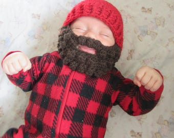 Baby Beard Hat for infant. 0-3 months Woodsman Beanie. Baby Woodsman hat. Can do any size/color. Lumberjack hat.