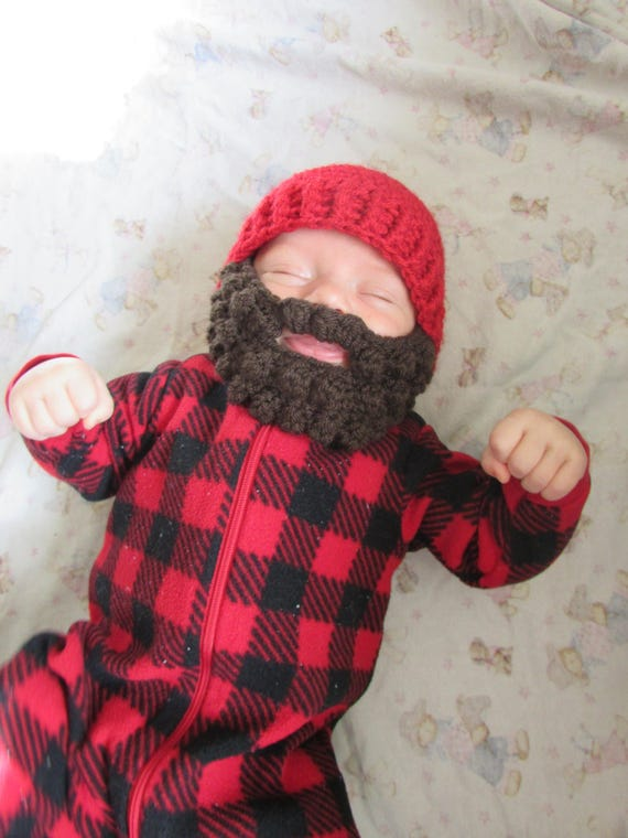 Child Knit Hat With Beard Pattern Sizes