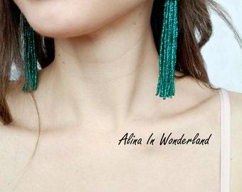 Green tassel earrings emerald statement earrings bridesmaid earrings boho earrings beaded tassel earrings emerald tassel arrings
