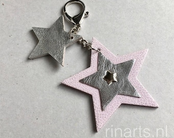 Leather keychain/ bag charm in pink textured leather and silver metallic goat skin. Bag charm with leather stars. Spring SALE