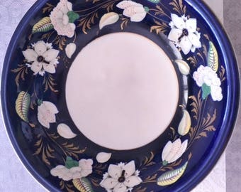Antique ASHWORTH ironstone large bowl, circa late 1800's, hand painted