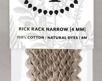 Naturally Dyed 4mm Rick Rack-Dark Grey