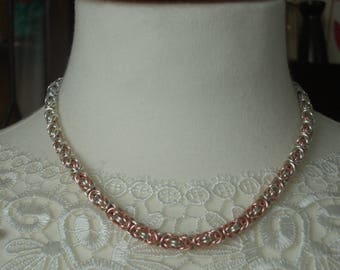 Silver and Rose Gold Necklace Byzantine Chain Mail